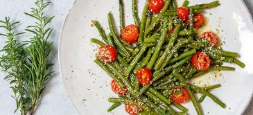 Buschbohnen-Salat mit Kirschtomaten