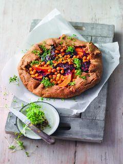 Crostata mit Kürbis, Rote Bete und Kichererbsen
