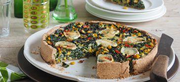 Spinat-Mais-Quiche mit Dinkel-Vollkorn-Boden